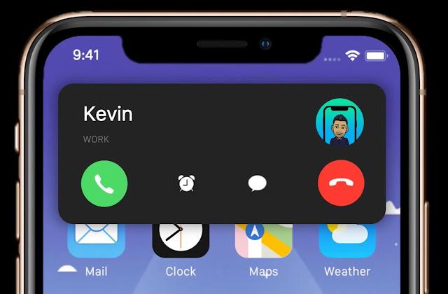 تنبيه المكالمات على شكل اشعار في أعلى الشاشة