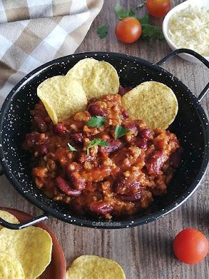 chili con carne para nachos y burritos