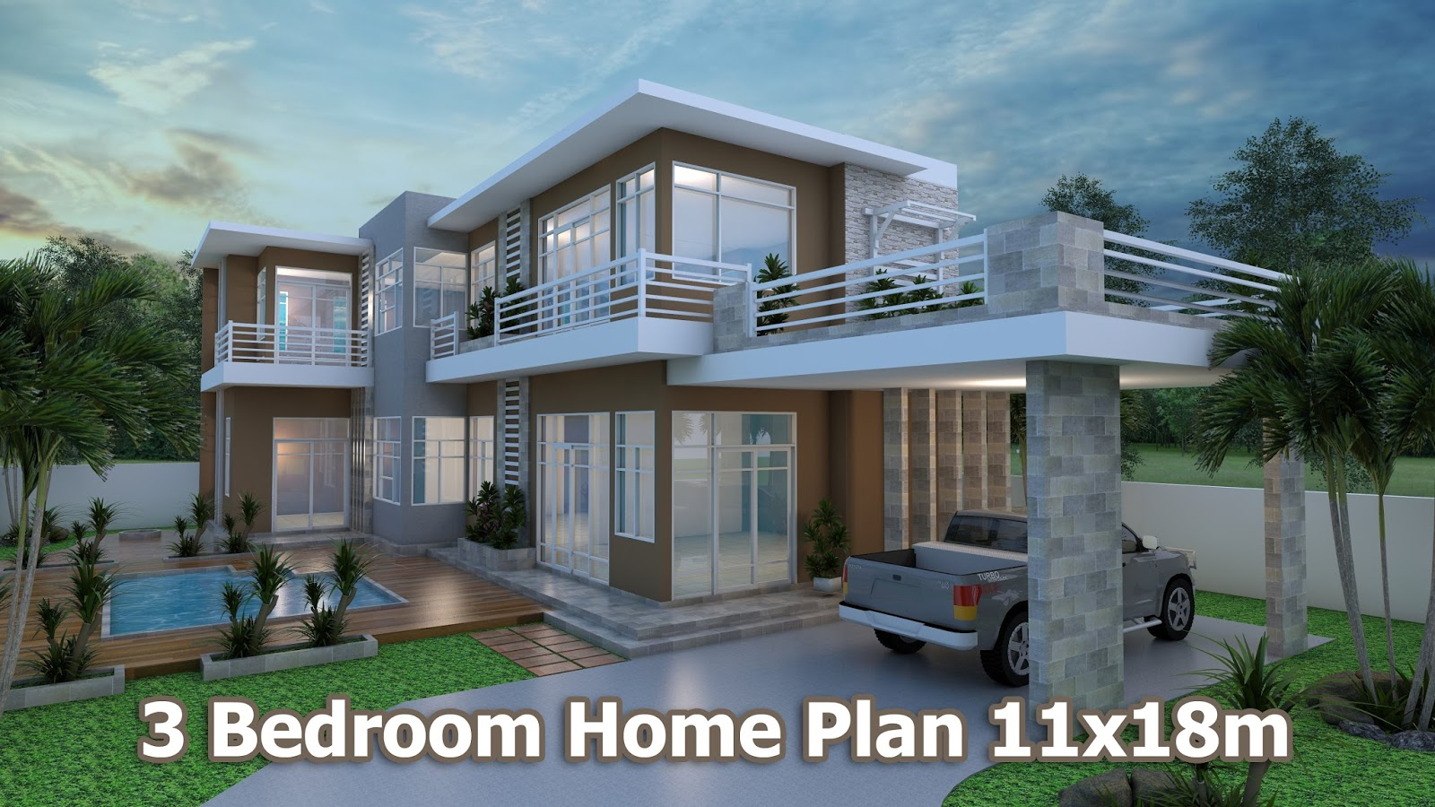 Home design 3d sketchup villa design plan 11x18m sam for Plan villa r 2
