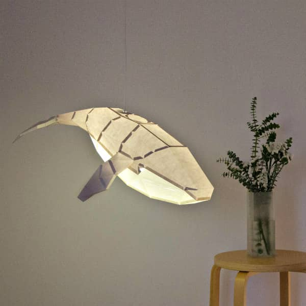 3D folded paper humpback whale pendant light