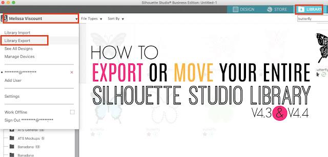 silhouette 101, silhouette america blog, export silhouette studio library, silhouette studio, silhouette studio v4.3