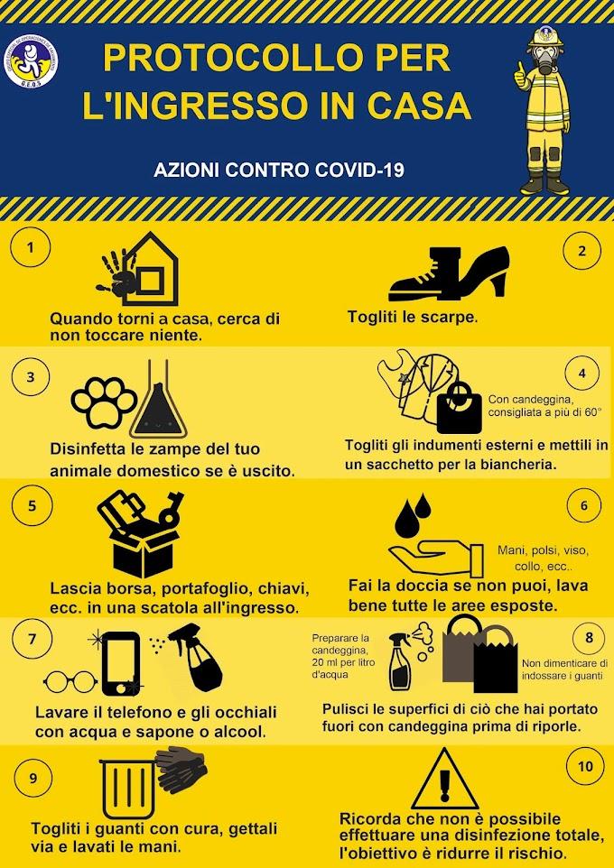 AZIONI CONTRO COVID-19: PROTOCOLLO PER L'INGRESSO IN CASA