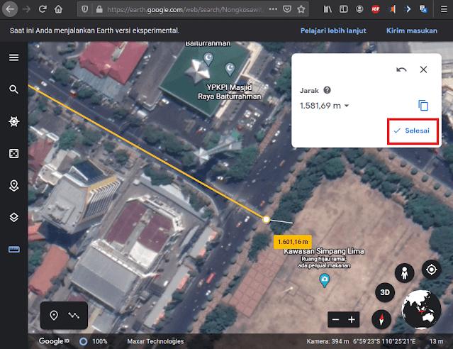 Hasil Fitur Ukur Jarak Lurus Google Earth