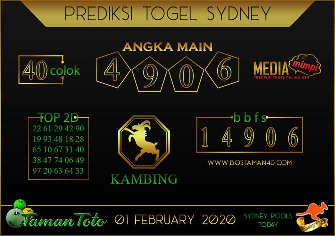Prediksi Togel SYDNEY TAMAN TOTO 01 FEBRUARY 2020