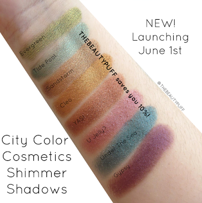 city color cosmetics shimmer shadow swatches - the beauty puff