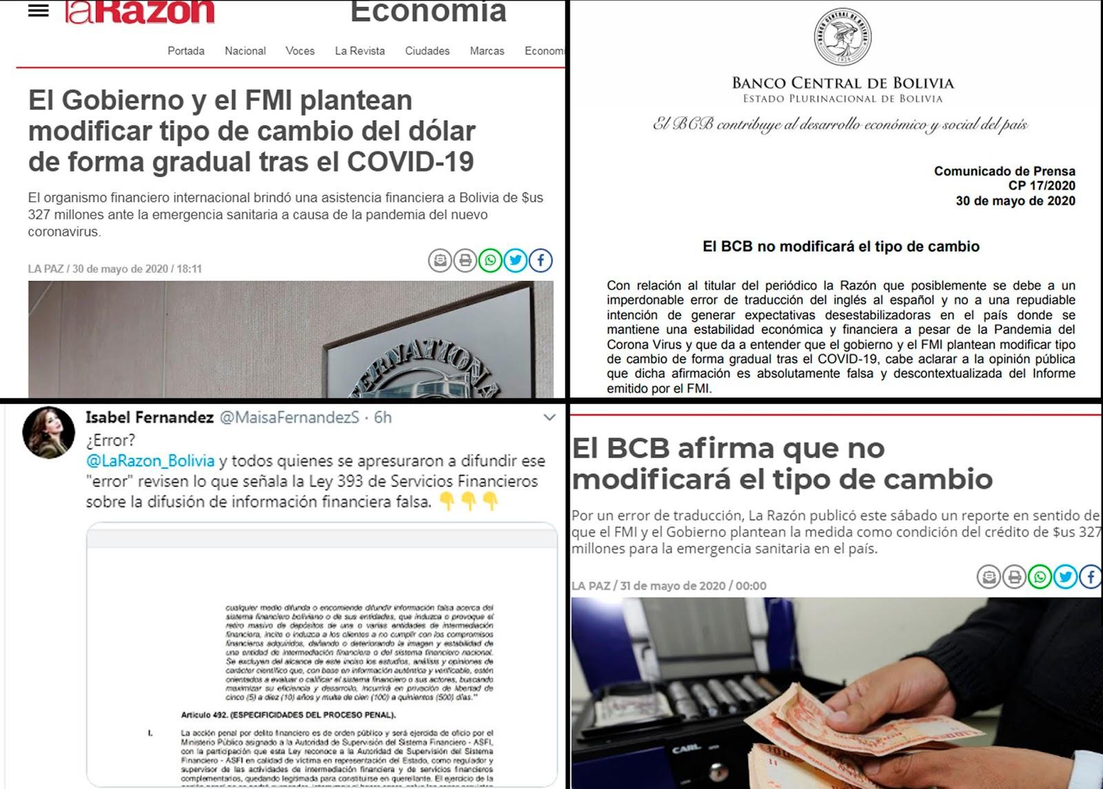 El lío mediático provocado por una fake new en el Gobierno, el FMI y el BCB / MONTAJE
