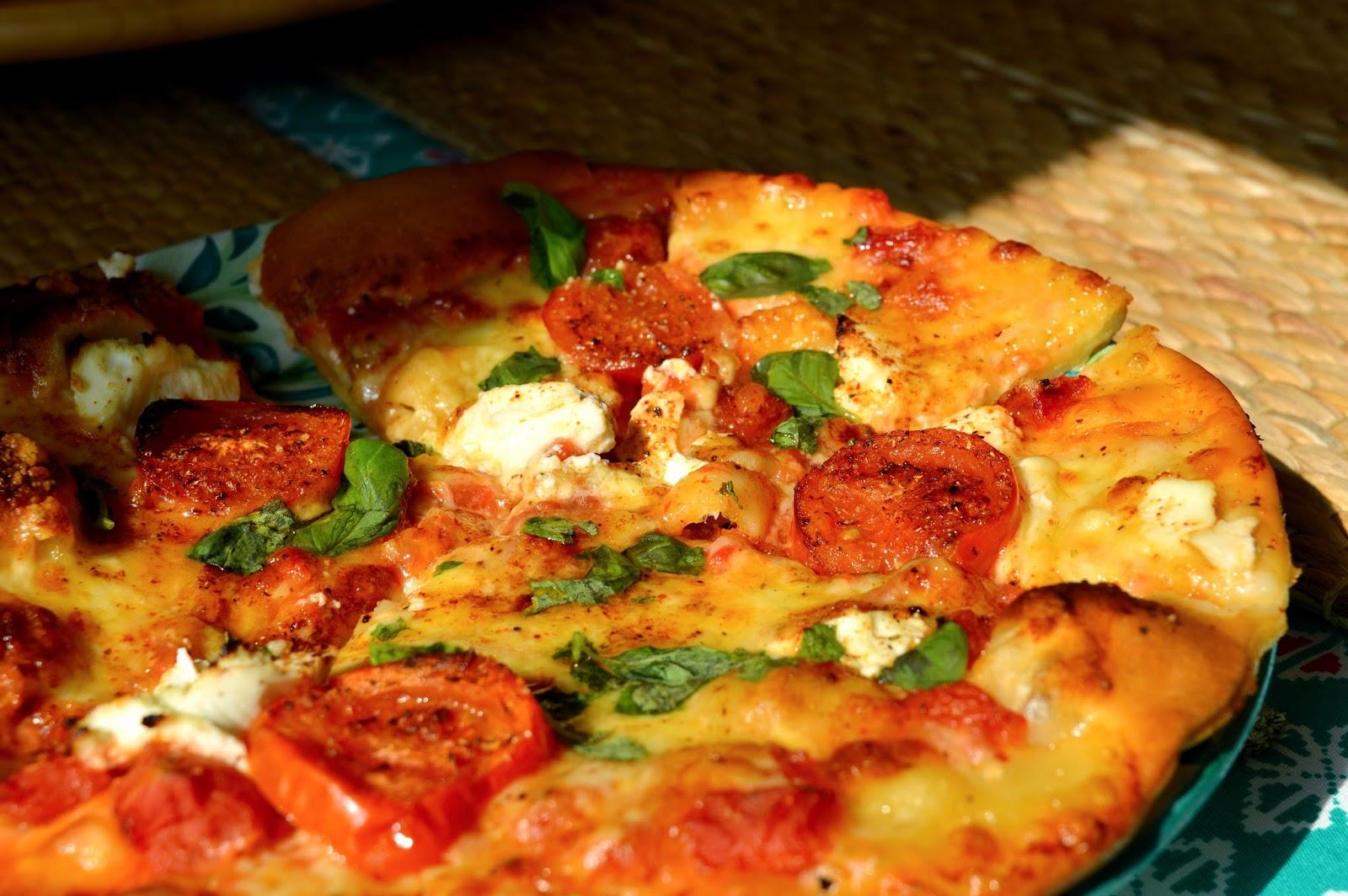 Homemade tomato and basil pizza