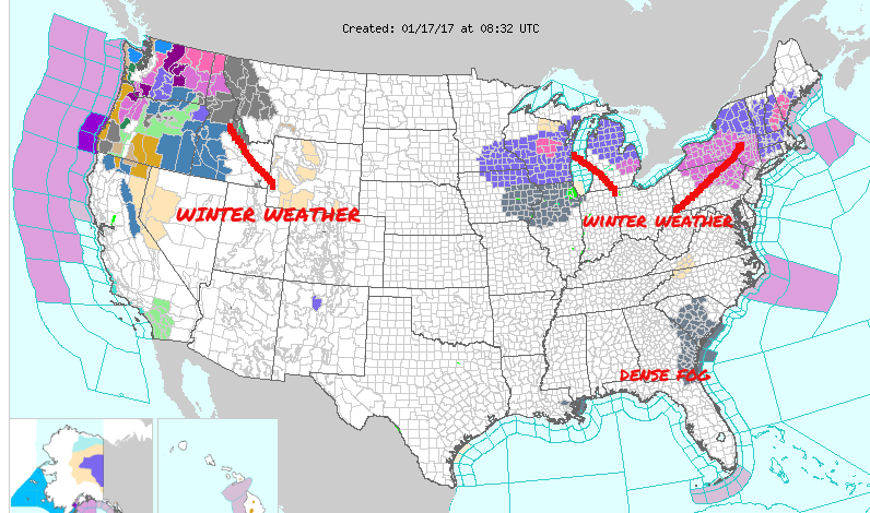 National Weather Map  Courtesy National Weather Service