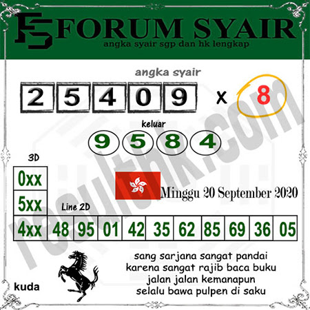 Forum Syair HK Minggu 20 September 2020