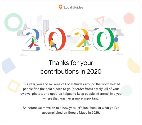 Thư chúc mừng từ Google với thành tích đóng góp review các địa điểm nổi bật