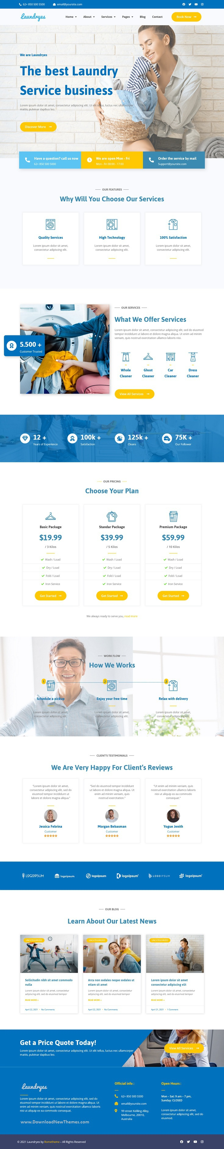 Laundry and Cleaning Elementor Template Kit