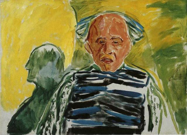 Эдвард Мунк - Автопортрет в полосатом свитере. 1944