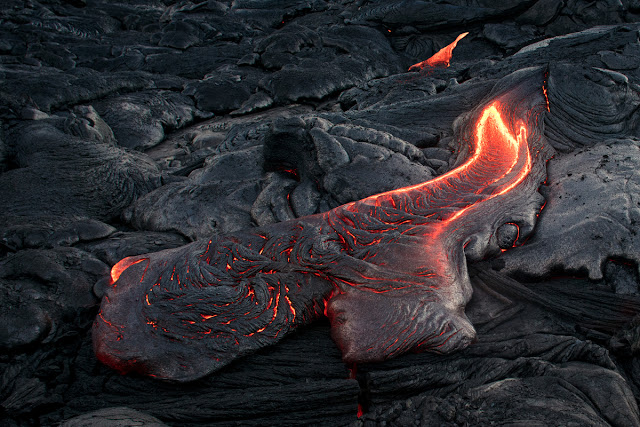 Lava flows in Iceland form lava fields