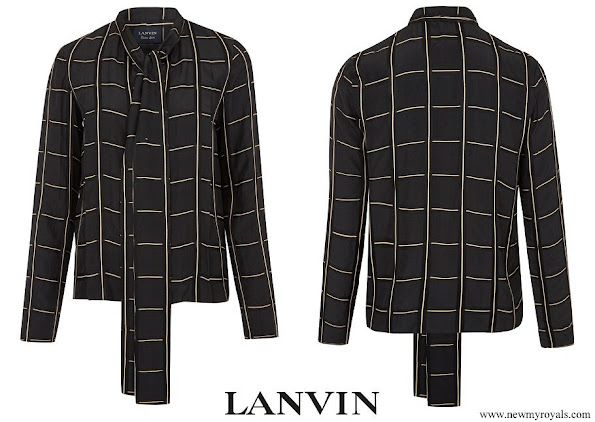 Crown Princess Mary wore a new black check technical satin pussy-bow blouse from Lanvin