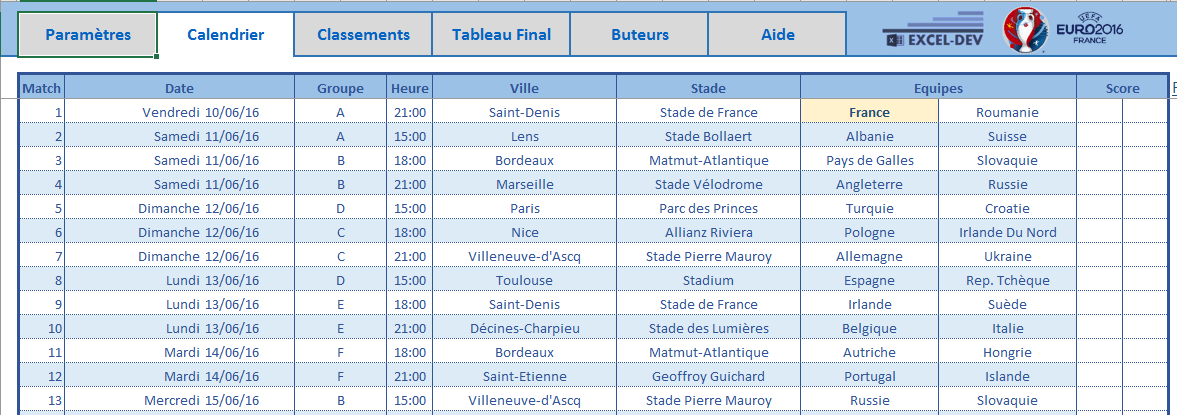 Calendrier rencontre foot