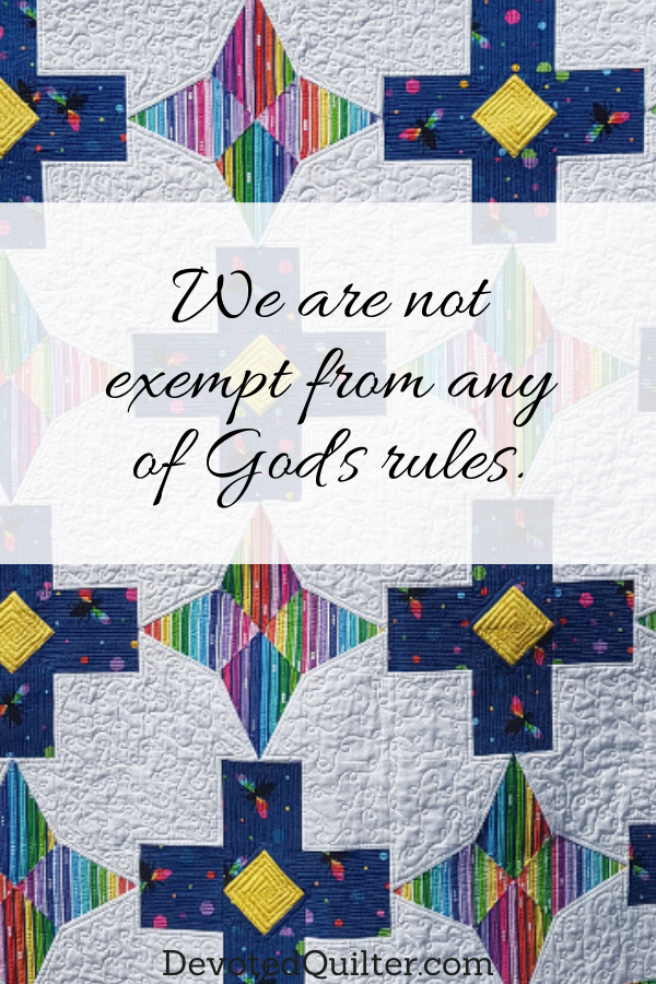 We are not exempt from any of God's rules | DevotedQuilter.com