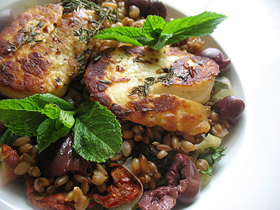 Leek and Rye Berry Salad with Halloumi Cheese, Sun-Dried Tomatoes and Olives