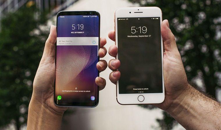 Samsung galaxy S9 dan iPhone 8 Plus