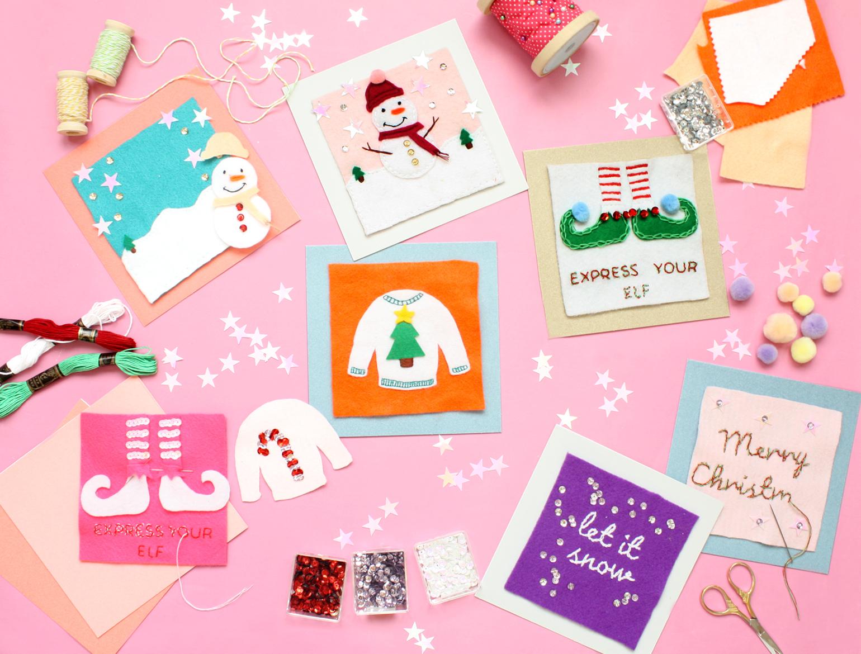 hand embroidery christmas card