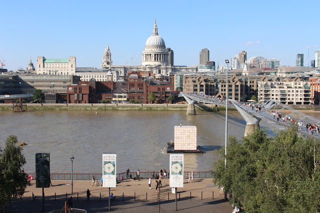 The view from the third floor balcony of the Tate Modern