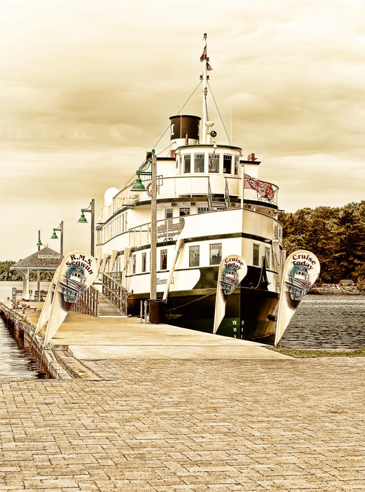 The Winonah docked at port in Gravenhurst.