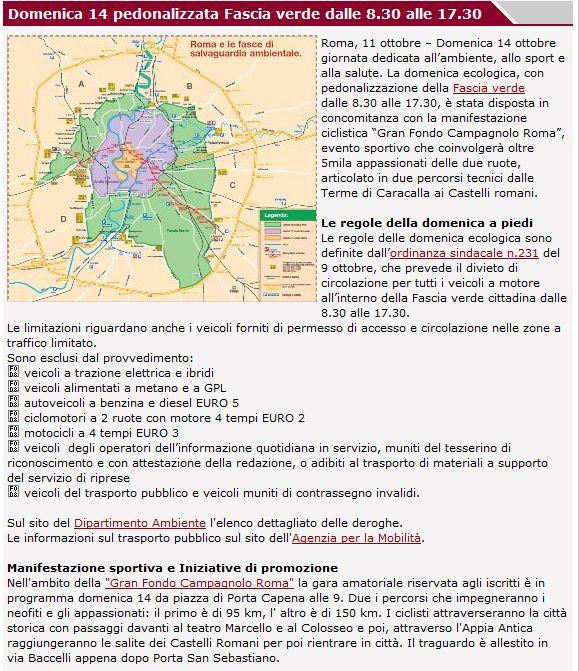 Cartina Della Fascia Verde A Roma.Domenica 14 Ottobre 2012 Domenica Ecologica Con Blocco Del Traffico In Fascia Verde Casilina Vecchia Mandrione