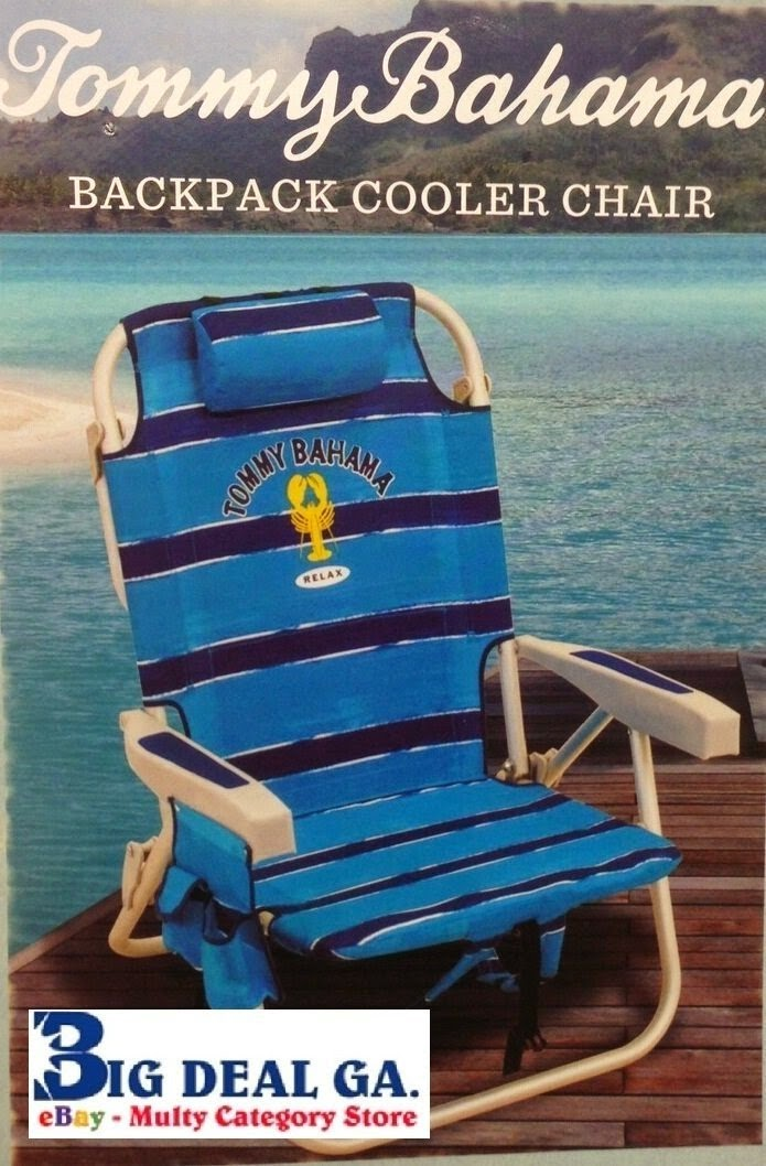 Tommy Bahama Backpack Cooler Chair Blue Swivel Stopper Cheap Beach Chairs Folding Towel Bar