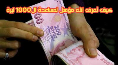 كيف تعرف انك من المؤهليين للحصول على مساعدة ال1000 ليرة من الحكومة التركية