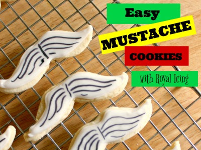 Easy Mustache Royal Icing Cookies