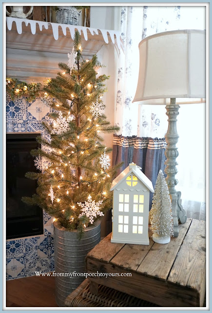 Winter- Fireplace- Mantel -Design-Snowflake-Tree-White-Lights-Cottage-Style-Farmhouse-Style-Cozy-Home-DIY-Curtains--From My Front Porch To Yours