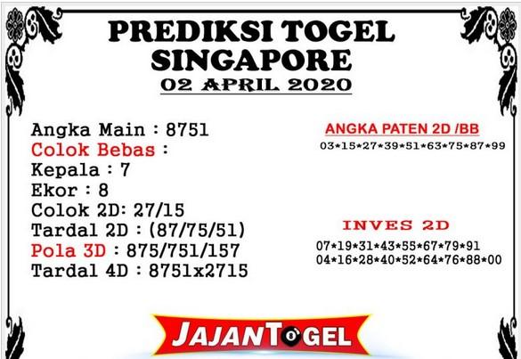 Bocoran Togel Singapura Kamis 02 April 2020 - Prediksi Jajan Togel