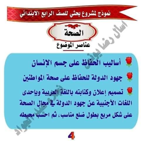 مشروع بحث عن الصحه للصف الرابع لميس نجلاء عبد الجواد 4