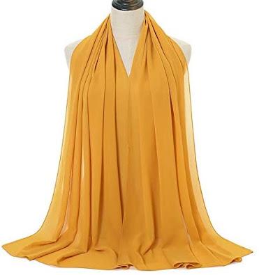 Long Yellow Plain Chiffon Scarves Shawls Wraps