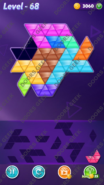 Block! Triangle Puzzle Master Level 68 Solution, Cheats, Walkthrough for Android, iPhone, iPad and iPod