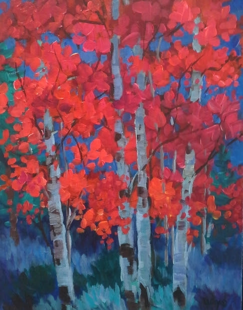 "Contemporary Red Aspen Birch Tree Painting ""Red Aspen at Night"" by Colorado Landscape Painter Laura Reilly"