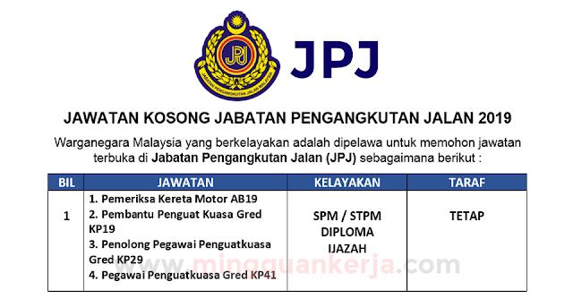 Permohonan Terbuka Jawatan Kosong Di Jabatan Pengangkutan Jalan Jpj Mingguan Kerja