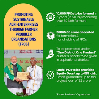 Formation of PM Modi scheme and promotion of Farmer Producer Organizations (FPOs)