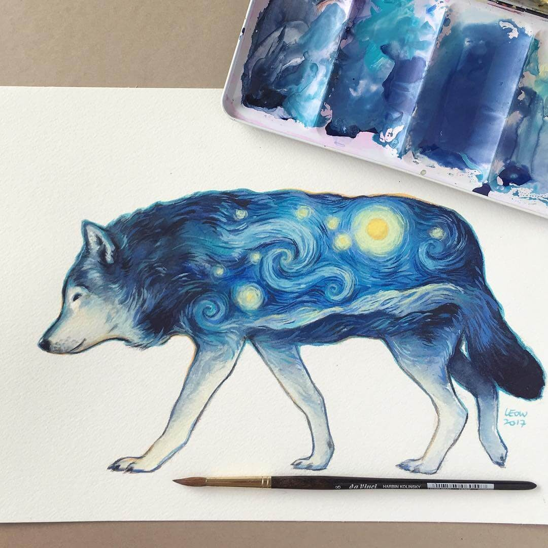 04-The-Starry-Night-Wolf-Leow-Fantastic-Mix-of-Watercolor-Paintings-www-designstack-co