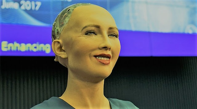 """The robot """"Sophia"""" who is a citizen of the United Arab Emirates, """"sells"""" a painting for 700 thousand dollars"""