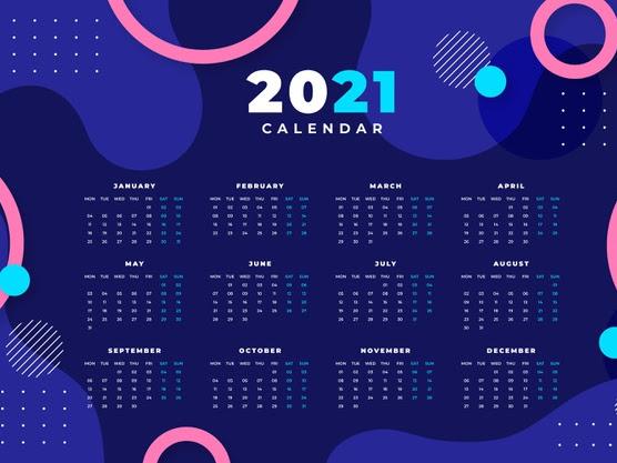 vector de calendario 2021 abstracto