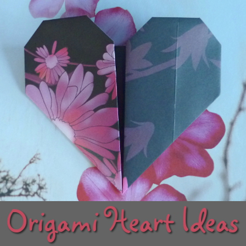 black and pink paper heart design folded origami