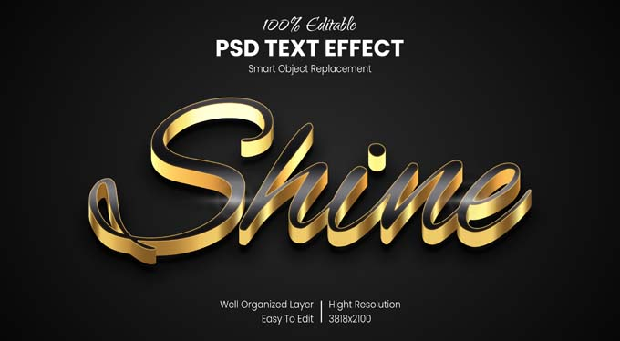 Gold Shine Text PSD Mockup Free Download