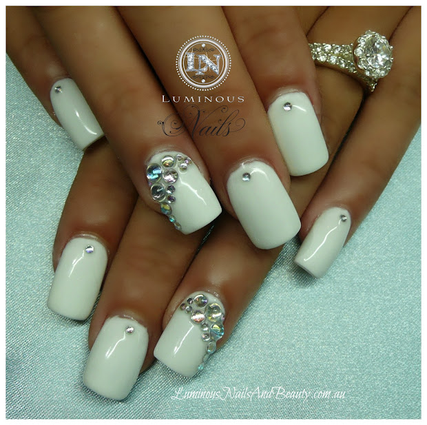 White Acrylic Nails with Rhinestones