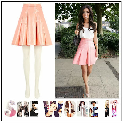 TOWIE, Lucy Mecklenburgh, River Island, Pale Coral, Pale Pink, High Shine, Drop Waist, Skater Skirt, Faux PVC, Faux Leather, Exposed Zip, Pleating Detail
