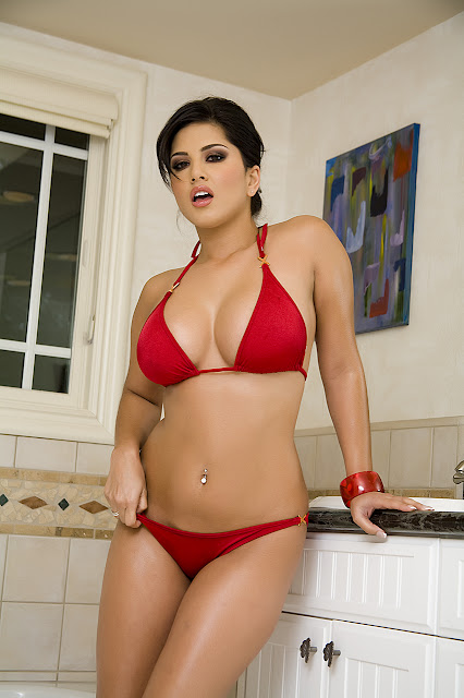 Hotmirchigirls Sunny Leone In Red Bikini In Bath Room Hq -7523