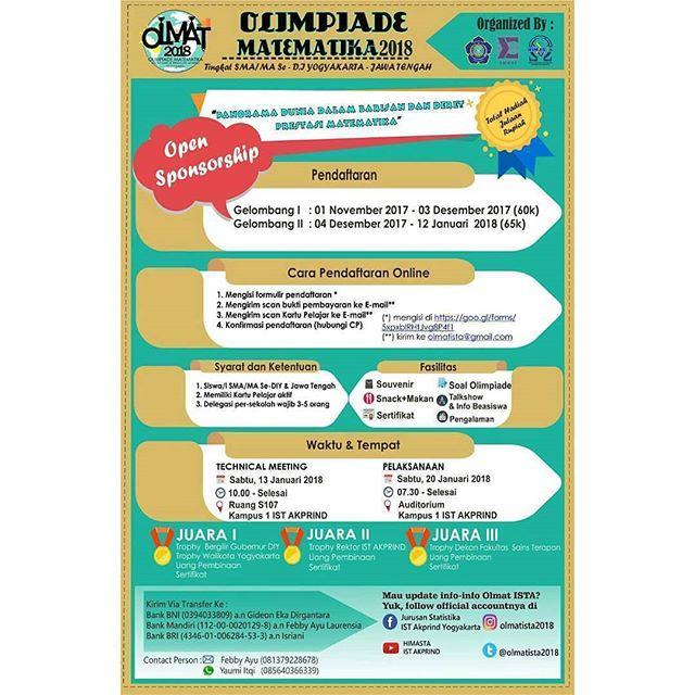 Olimpiade Matematika Se-DIY & Jawa Tengah 2018 Untuk SMA Sederajat