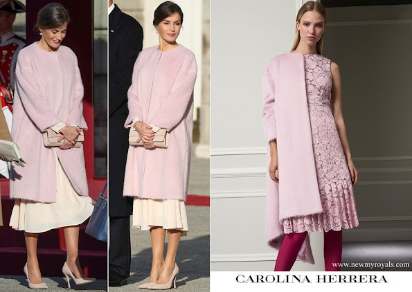 Queen Letizia wore Carolina Herrera pink brushed wool coat from FW 2017 collection