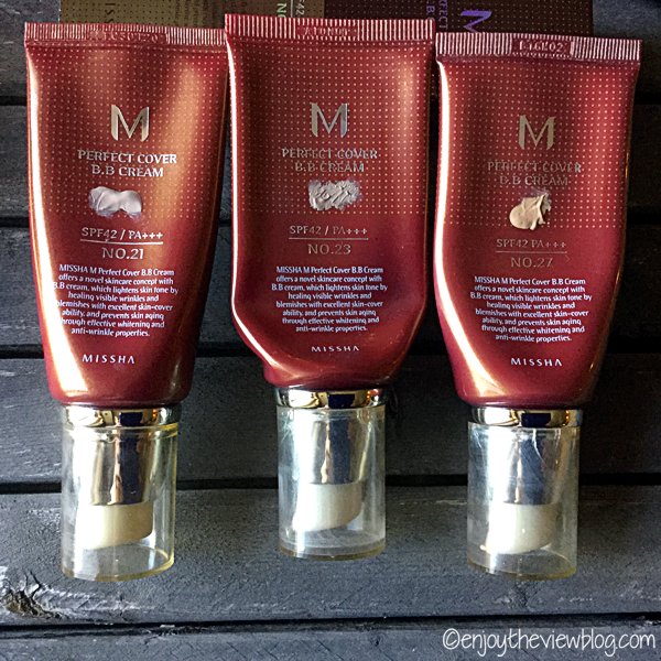 three tubes of Missha Perfect Cover BB Cream