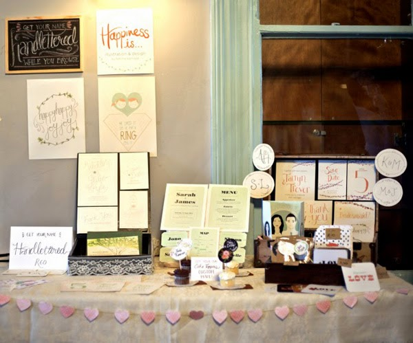 Wedding stationery, cupcake toppers and notecards by Happiness is... at the Durban Alternative Wedding Fair