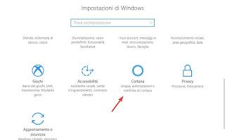 Impostazioni Cortana
